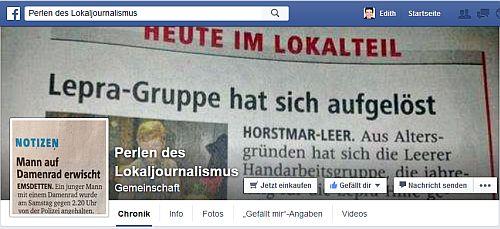 """Screenshot der facebook-Seite """"Perlen des Lokaljournalismus"""" / Nebel"""